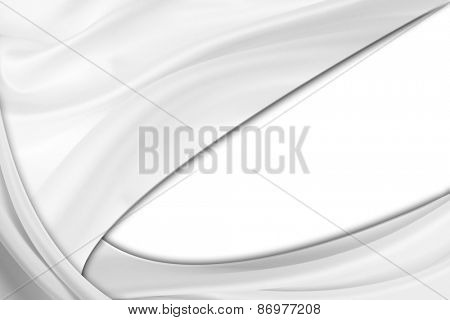 Rippled silk fabric on white, copy space