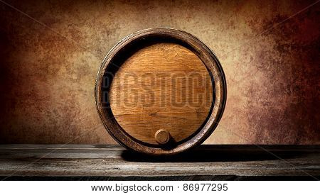 Barrel on brown background