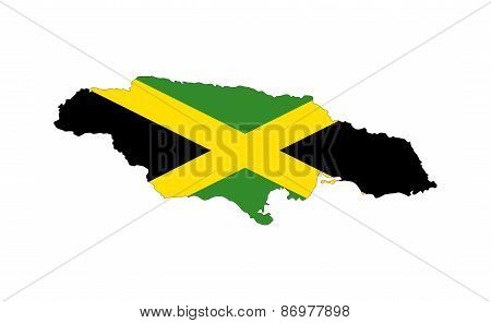 Jamaica Flag Map
