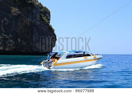 Motor Boats On Turquoise Water Of Koh Phi Phi Island