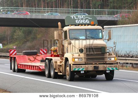 PILSEN CZECH REPUBLIC - APRIL 1, 2015: Maintainance and supply truck one part of Dragoon Ride convoy from Operation Atlantic Resolve. Longest march US Army in Europe after second world war.
