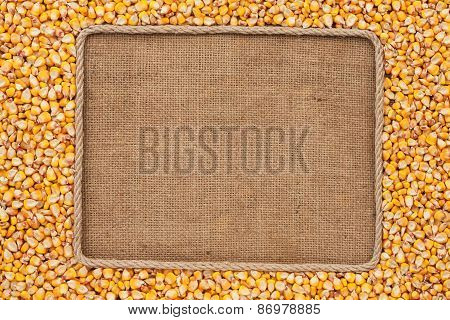 Frame Made Of Rope With Corn Grains On Sackcloth