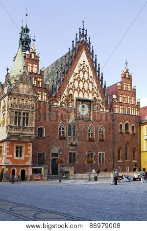 The Ancient Town Hall On The Market Square In Wroclaw, Poland