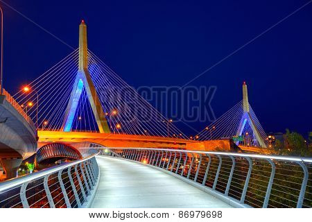 Boston Zakim bridge sunset in Bunker Hill Massachusetts USA