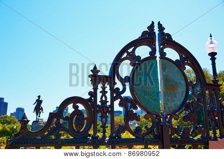 Boston Common Arlington St gate George washington in Massachusetts USA