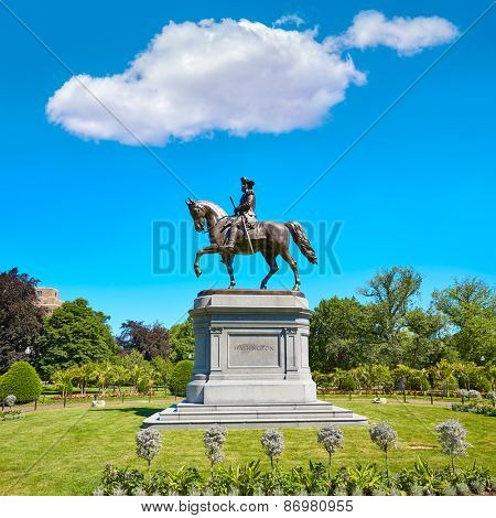 Boston Common George Washington monument at Massachusetts USA