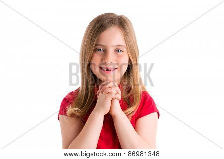 blond indented kid girl praying hands gesture in white background