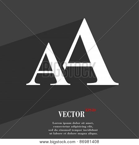 Enlarge Font, Aa Icon Symbol Flat Modern Web Design With Long Shadow And Space For Your Text. Vector