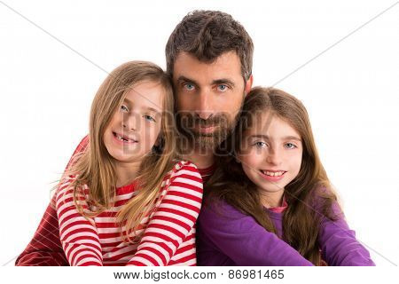 Happy family beard father and two kid daughters blue eyes on white background