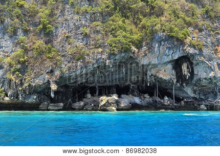 Viking Cave Where Bird's Nests Are Collected. Phi-phi Leh Island, Thailand