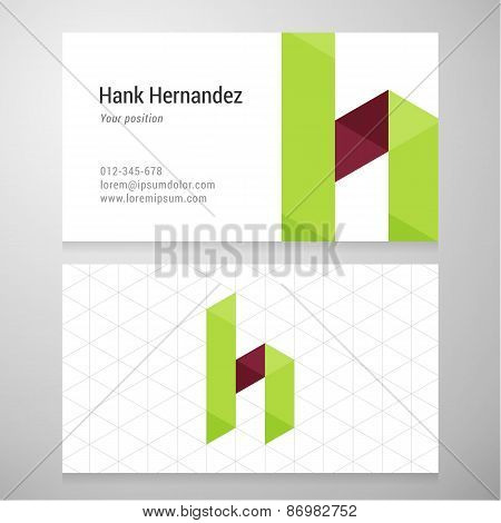 Modern Letter H Origami Business Card Template