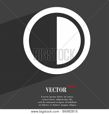 Contrast Icon Symbol Flat Modern Web Design With Long Shadow And Space For Your Text. Vector