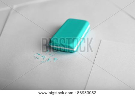 Eraser on paper background
