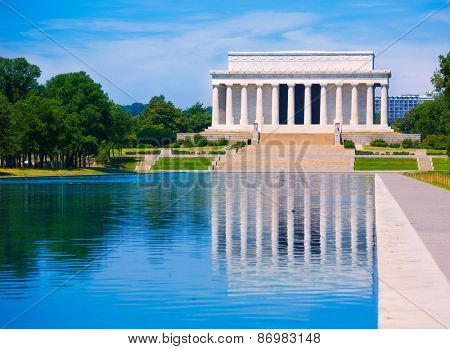 Abraham Lincoln Memorial reflection pool Washington DC US USA