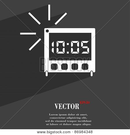 Digital Alarm Clock Icon Symbol Flat Modern Web Design With Long Shadow And Space For Your Text. Vec