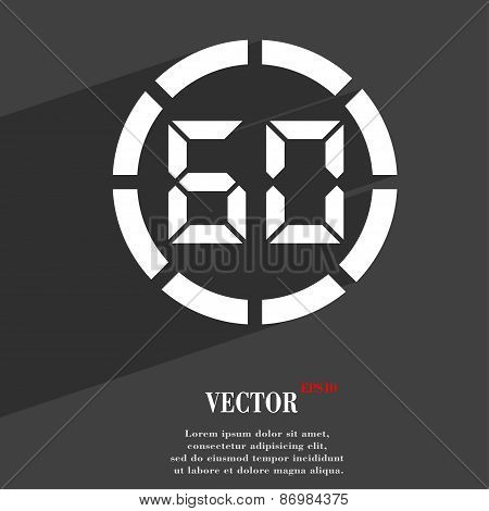 60 Second Stopwatch Icon Symbol Flat Modern Web Design With Long Shadow And Space For Your Text. Vec