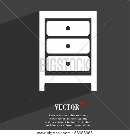 Nightstand Icon Symbol Flat Modern Web Design With Long Shadow And Space For Your Text. Vector