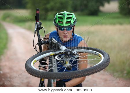 mountain biker close up