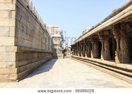 Veerabhadra temple surrounding walls at Lepakshi, Andhra Pradesh