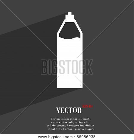 Plastic Bottle With Drink Icon Symbol Flat Modern Web Design With Long Shadow And Space For Your Tex
