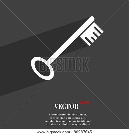 Key Icon Symbol Flat Modern Web Design With Long Shadow And Space For Your Text. Vector