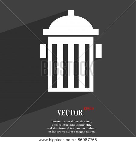 Fire Hydrant Icon Symbol Flat Modern Web Design With Long Shadow And Space For Your Text. Vector