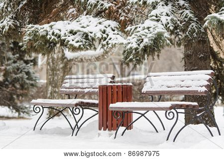Winter Landscape With Two Benches