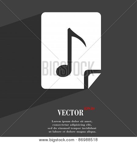 Audio, Mp3 Fileicon Symbol Flat Modern Web Design With Long Shadow And Space For Your Text. Vector