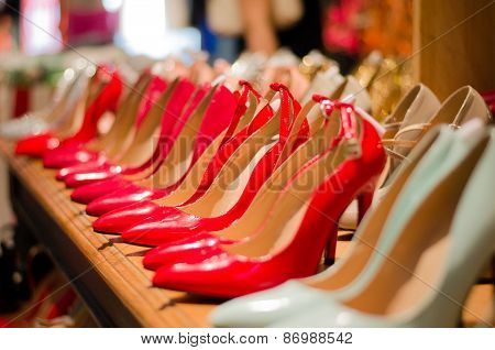 Red high heels pump shoes