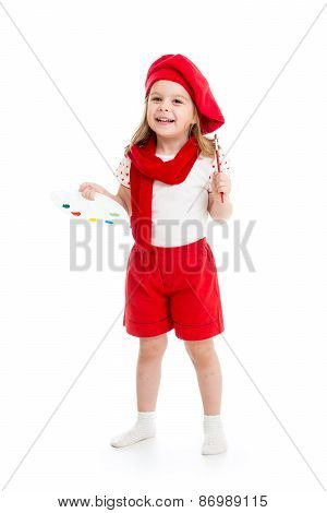 little child girl in artist costume isolated