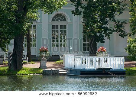 Tsarskoye Selo (Pushkin), Saint-Petersburg, Russia. The ferry on the Great Pondd