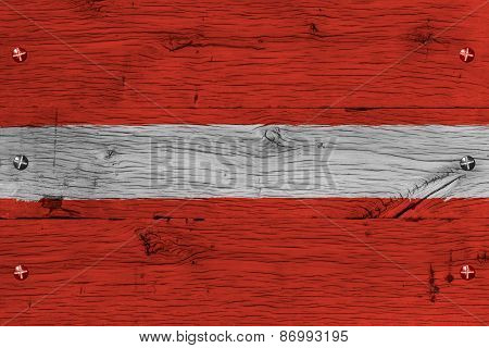 Latvia National Flag Painted Old Oak Wood Fastened