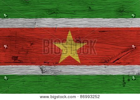 Suriname National Flag Painted Old Oak Wood Fastened