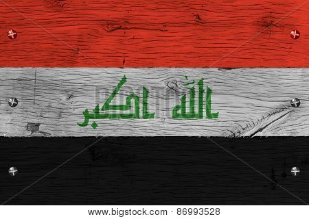 Iraq National Flag Painted Old Oak Wood Fastened