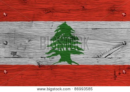 Lebanon National Flag Painted Old Oak Wood Fastened
