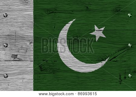 Pakistan National Flag Painted Old Oak Wood Fastened