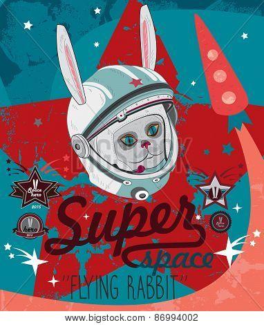 Cosmonaut rabbit in space. Vector illustration
