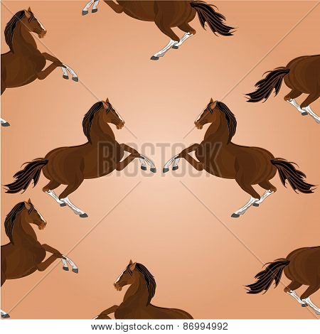 Seamless Texture Of Brown Horse Jumping Vector