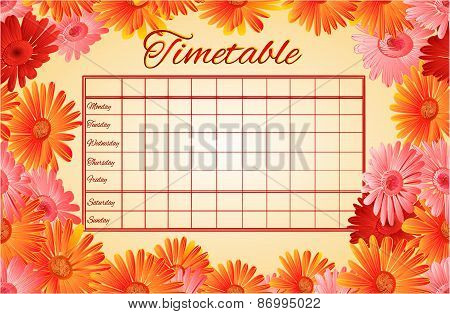 Timetable weekly schedule with gerber vector