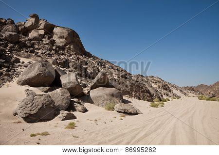 Tire Track On Desert