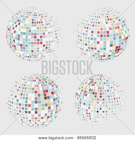 Collection of halftone sphere vector logo template. Abstract globe symbol, isolated round icon, busi