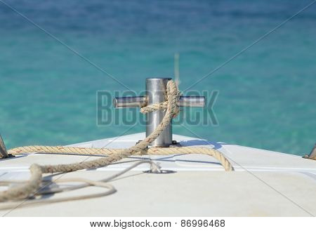 Bow Of Motor Boat With Sea