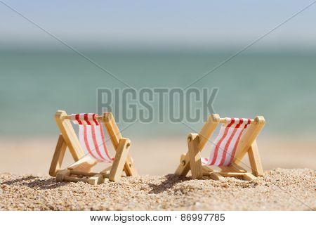 Two Miniature Deckchairs