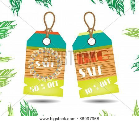 Two beautiful, colorful stickers with wooden pattern, text Sale on white background with green palm