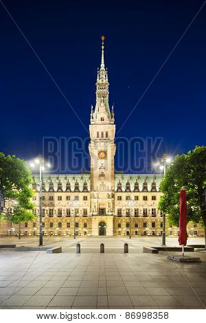 Hamburg Town Hall At Night