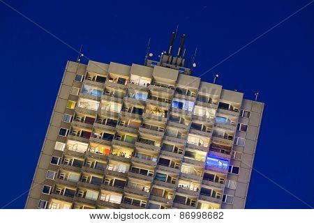 Apartment Highrise At Night