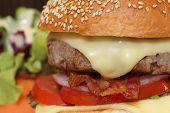 picture of bacon  - close up image of cheeseburger with bacon - JPG