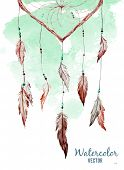 pic of dreamcatcher  - Beautiful vector image with nice watercolor dreamcatcher - JPG