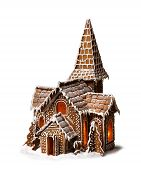 stock photo of gingerbread house  - Gingerbread cookies Christmas house isolated on white background - JPG