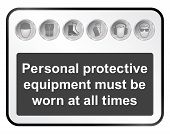 foto of ppe  - Monochrome construction manufacturing and engineering health and safety related sign isolated on white background - JPG